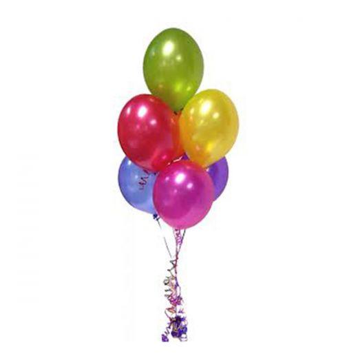 Фонтан из 7 разноцветных воздушных шаров без рисунка